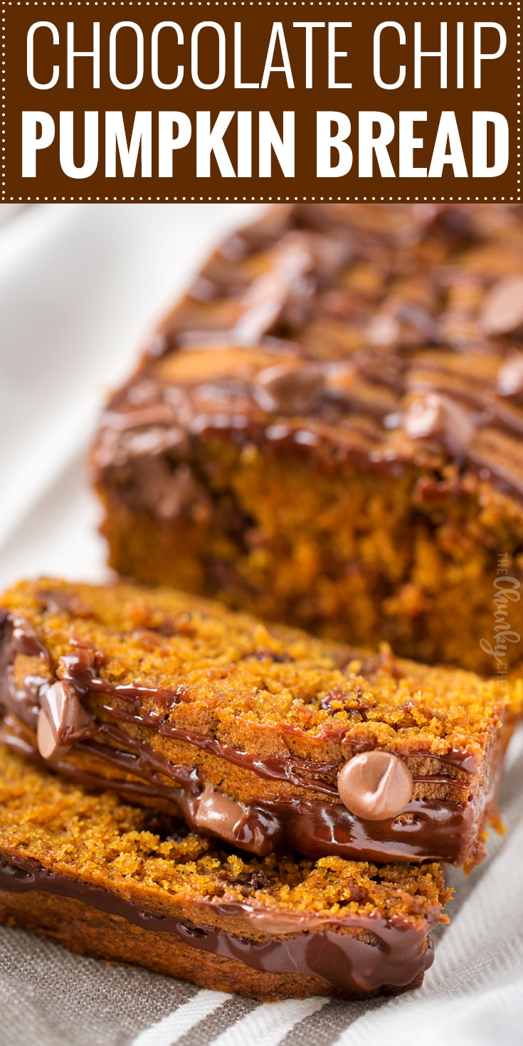 Chocolate Chip Pumpkin Bread | Perfectly spiced and moist, this chocolate chip pumpkin bread is the most amazing pumpkin bread you'll ever have! | https://www.thechunkychef.com | #pumpkinbread #pumpkin #chocolate #bread #Fall #dessert