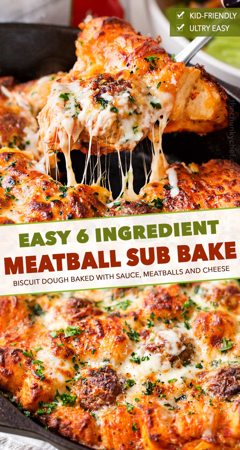 This bubble up bake tastes just like a great meatball sub and a casserole, made in one pan!  Sure to be a weeknight favorite with both kids and adults! #bake #meatball #sub #bubbleup #onepan #comfortfood #dinner #easyrecipe #italian