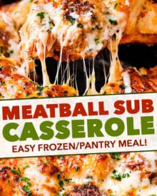 This meatball sub casserole tastes amazing, is made with frozen/pantry ingredients, and is made in one pan! Sure to be a weeknight favorite with both kids and adults! #casserole #meatball #sub #bubbleup #onepan #comfortfood #dinner #easyrecipe #italian #pantrymeal