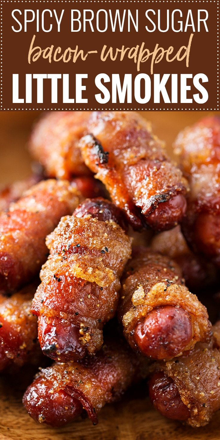 Spicy Brown Sugar Bacon-Wrapped Little Smokies | Mouthwatering, and incredibly simple to make, these little smokies are loaded with sweet, savory and spicy flavors!  Perfect for game day, tailgating, a party, or a fun night at home! | https://www.thechunkychef.com | #party #appetizer #gameday #lilsmokies #bacon