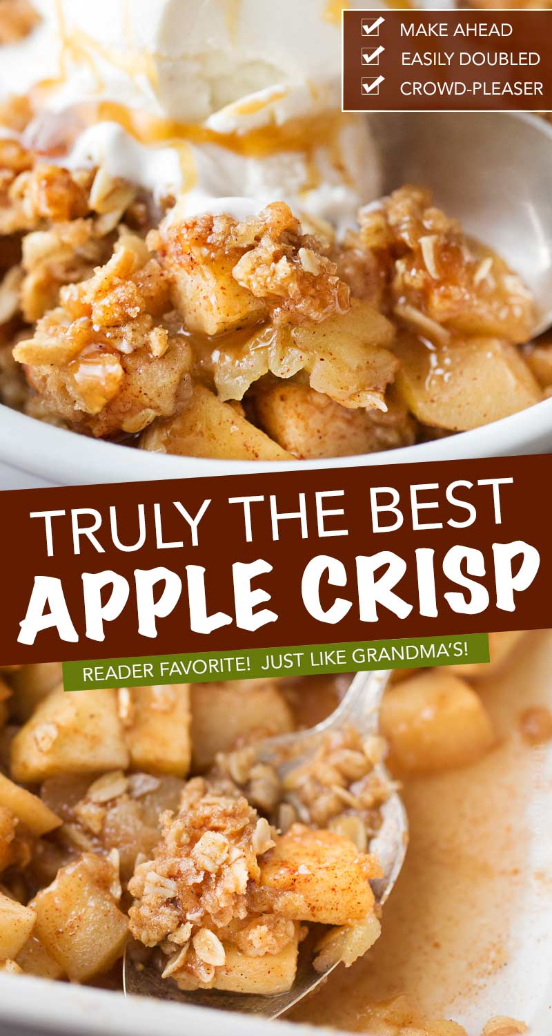 Old Fashioned Easy Apple Crisp | Chopped apples, cinnamon, brown sugar, and the best crispy oat topping, baked into the ultimate Fall dessert!  Top with a scoop of ice cream and salted caramel for the perfect treat! #applecrisp #oats #dessert #apples #fromscratch #easyrecipe