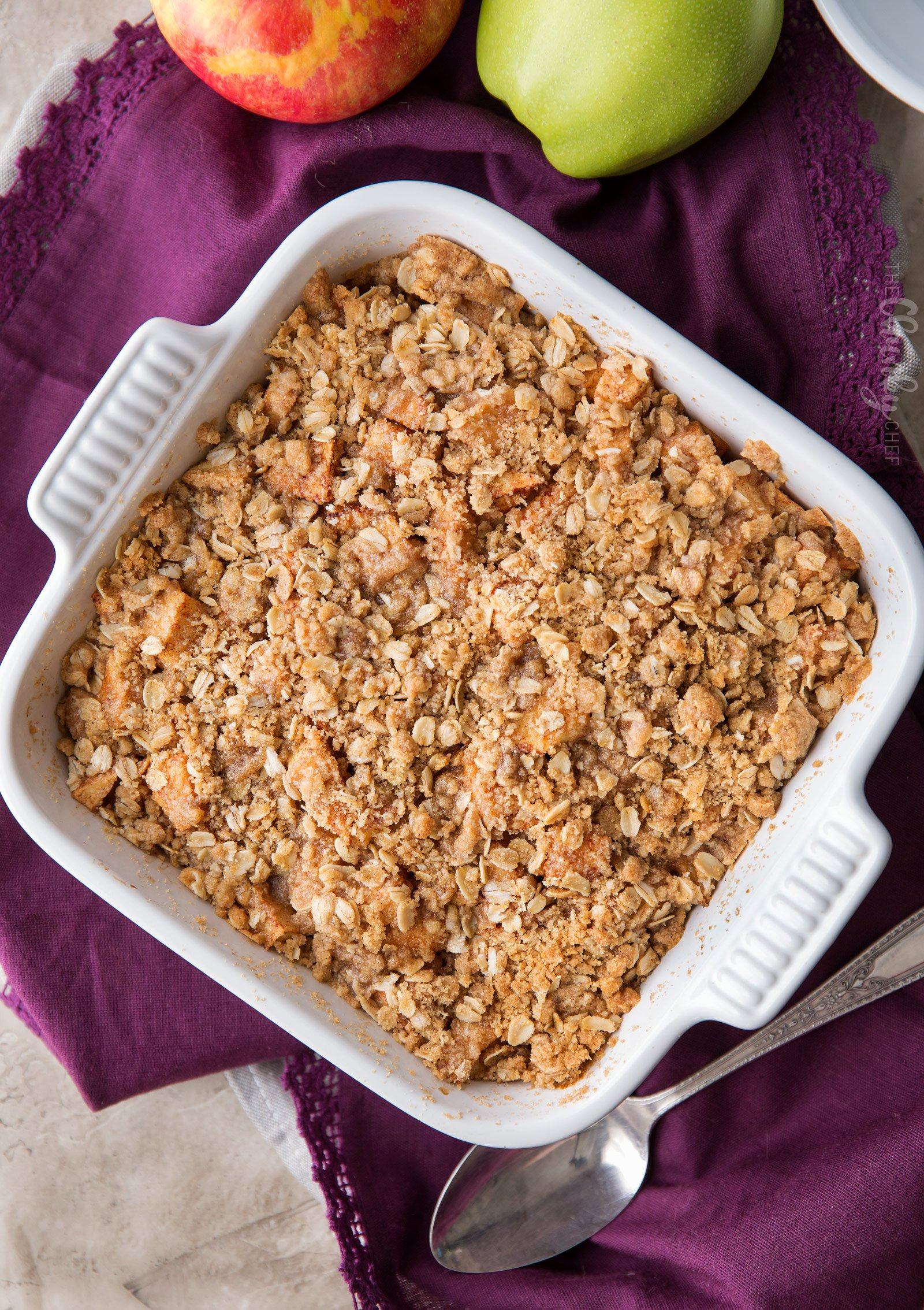 Overheat picture of apple crisp in baking dish