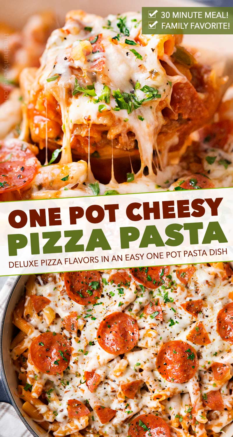 Everything you love about a deluxe pizza, in a kid-friendly pasta recipe, made in one pot, in just 30 minutes, and loaded with extra gooey cheese! #pasta #pizza #onepot #onepan #familyfriendly #easyrecipe #dinner #weeknightmeal #30minutemeal