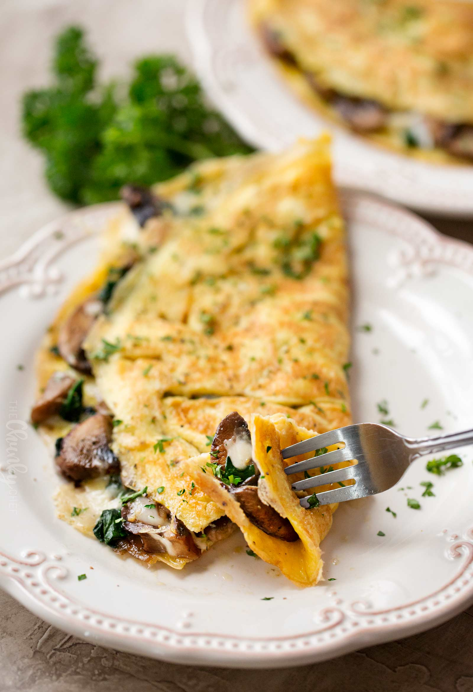 Forkful of omelet