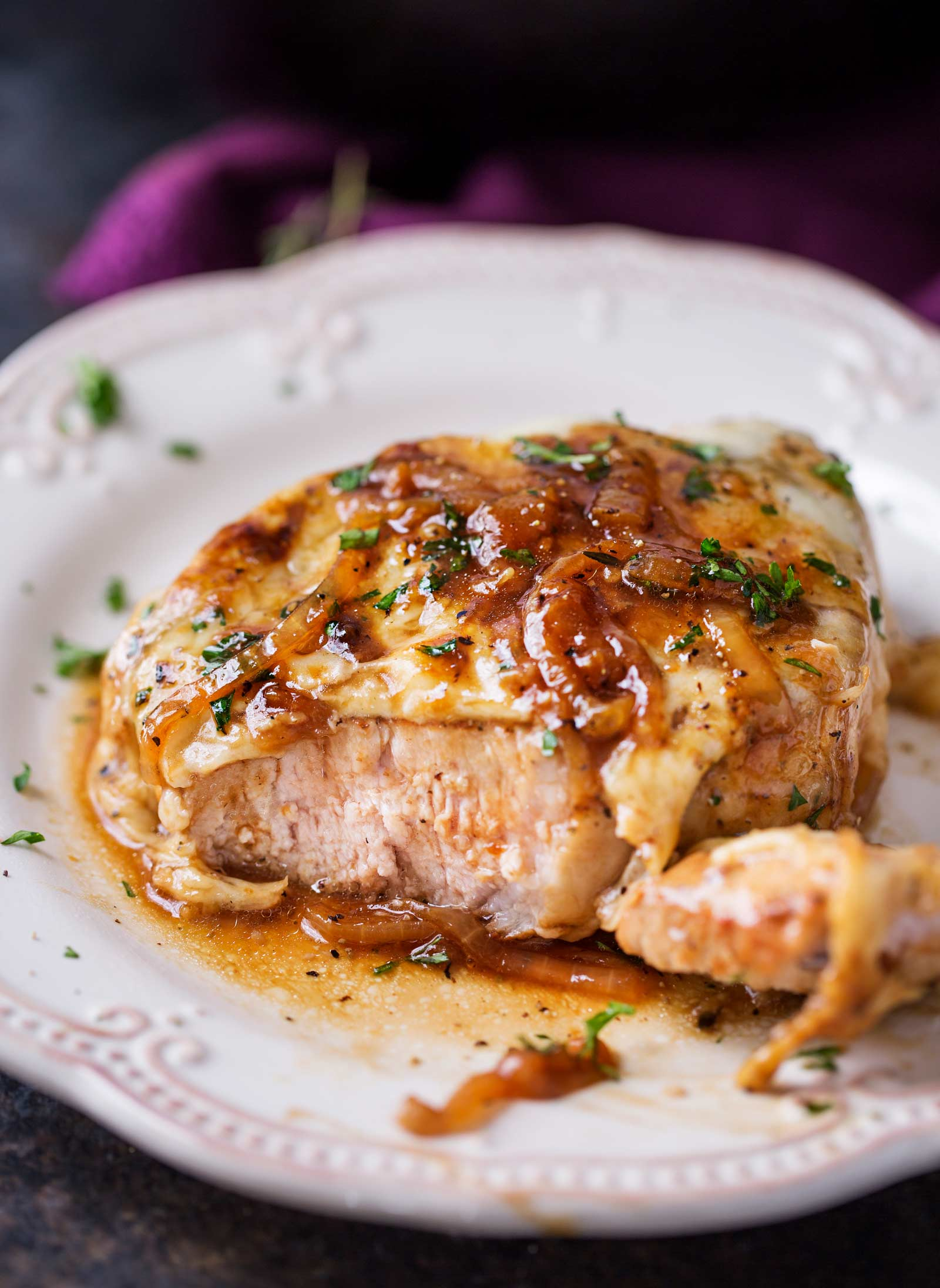 One Pan French Onion Smothered Pork Chops - The Chunky Chef