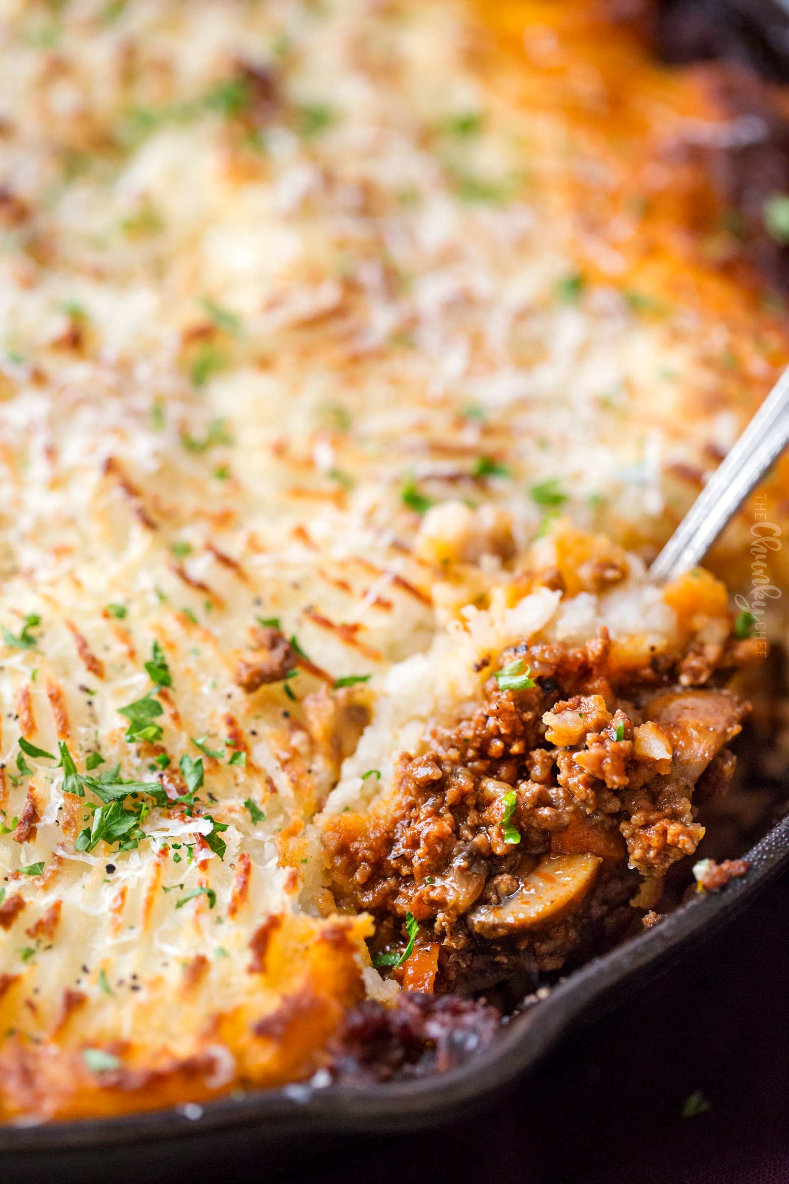 Closeup of spoonful of beef shepherd's pie