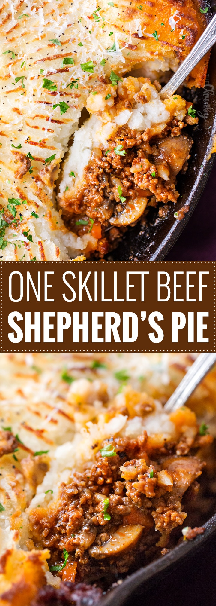 One Skillet Beef Shepherd's Pie Recipe | This rich and flavorful ground beef and vegetable mixture is topped with fluffy mashed potatoes and baked, all in ONE skillet!  Technically cottage pie (since using beef), this version will be a family favorite dinner recipe! | https://thechunkychef.com | #shepherd'spie #cottagepie #groundbeefrecipe #oneskillet #onepot #mashedpotatoes