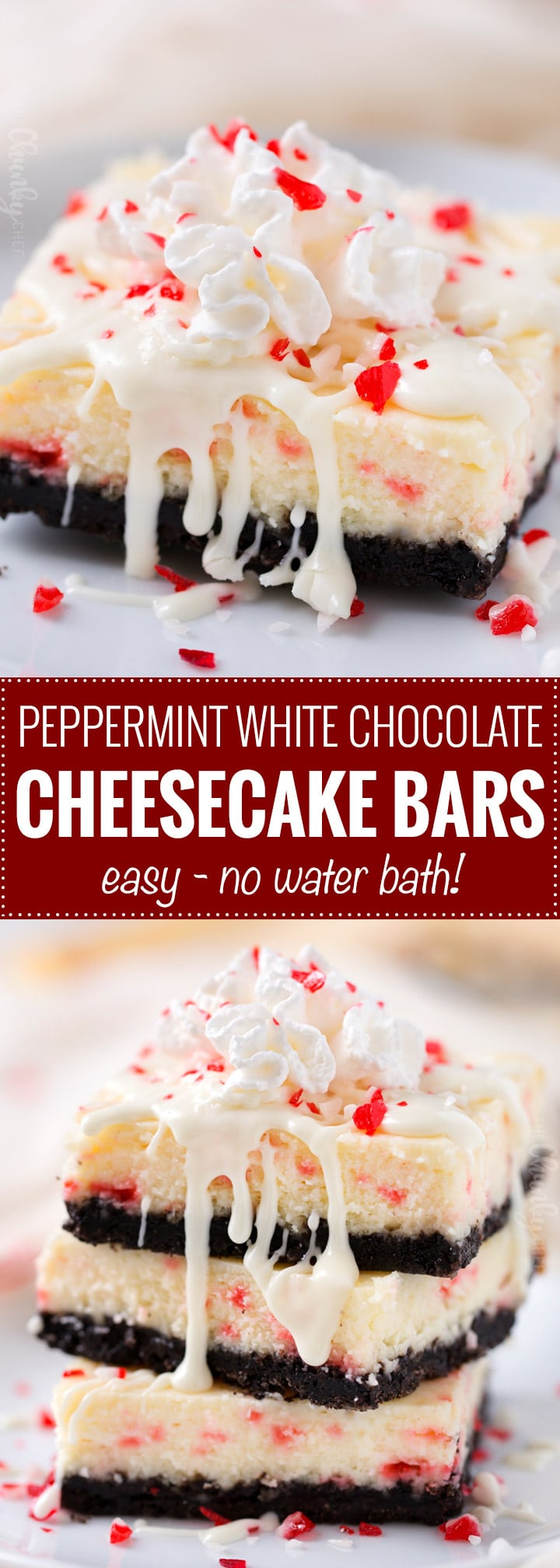 Peppermint White Chocolate Cheesecake Bars | An Oreo cookie crust, velvety smooth white chocolate peppermint cheesecake filling, candy cane pieces, and an extra drizzle of creamy white chocolate.  Holiday baking at it's finest! | The Chunky Chef | #cheesecakerecipes #cheesecakebars #peppermint #whitechocolate #holidaybaking #Christmasdesserts