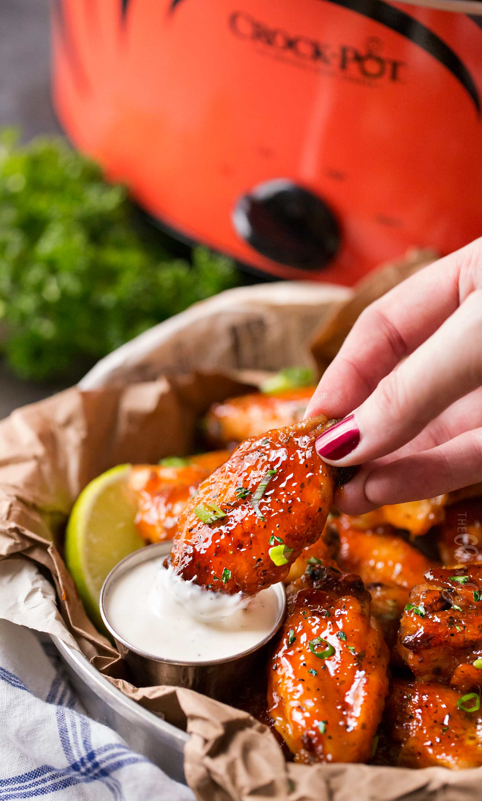 Buffalo hot wings dipped in ranch dressing