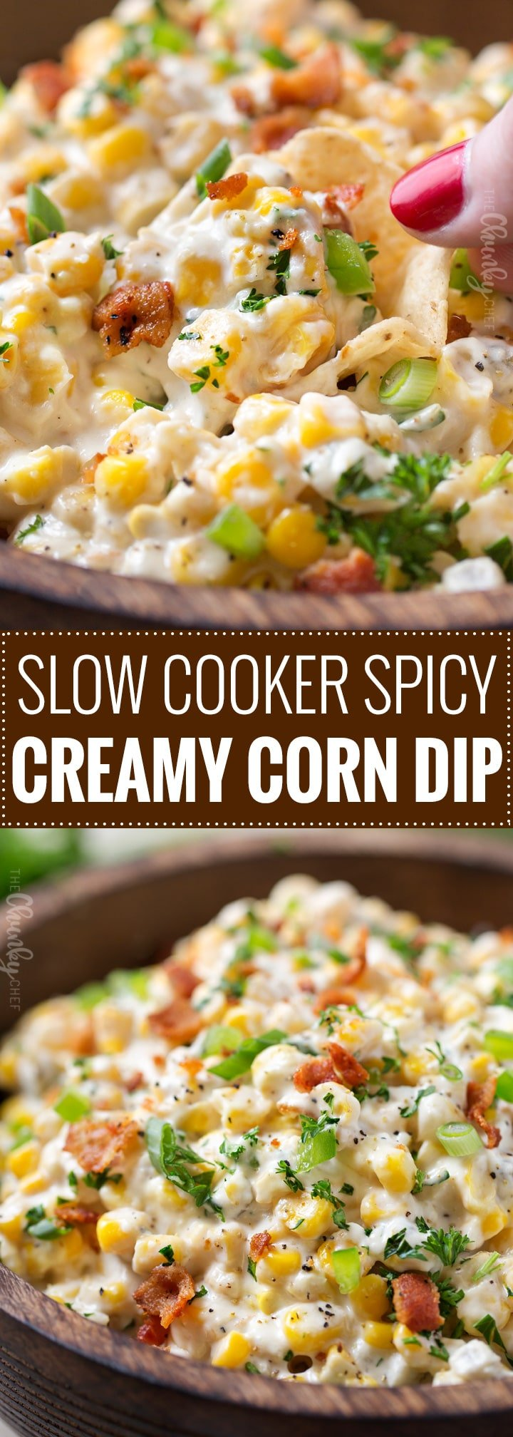 Slow Cooker Spicy Creamy Corn Dip | The easiest, creamy corn dip ever!  Toss the ingredients in the slow cooker and be amazed at how mouthwatering it tastes! | https://thechunkychef.com | #corndip #slowcooker #crockpot #appetizerrecipe #partyfood