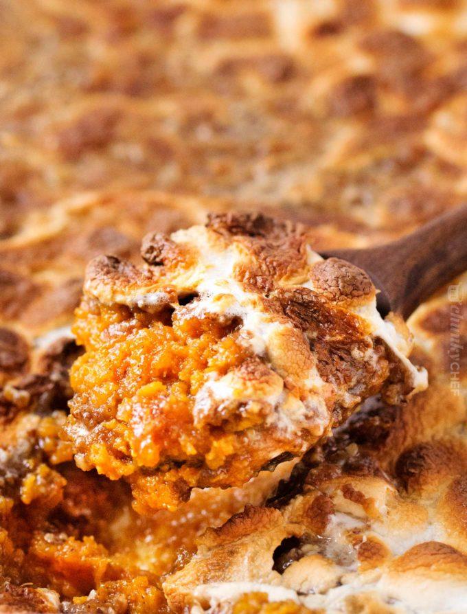 Spoonful of sweet potato casserole recipe