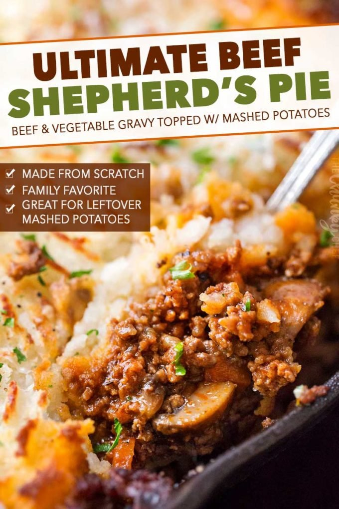 Rich and flavorful ground beef and vegetable gravy is topped with fluffy mashed potatoes and baked, all in ONE pan!  Technically cottage pie (made with beef), this version will be a family favorite dinner recipe! #shepherdspie #groundbeef #beef #cottagepie #dinner #easyrecipe #onepan #onepot #mashedpotatoes