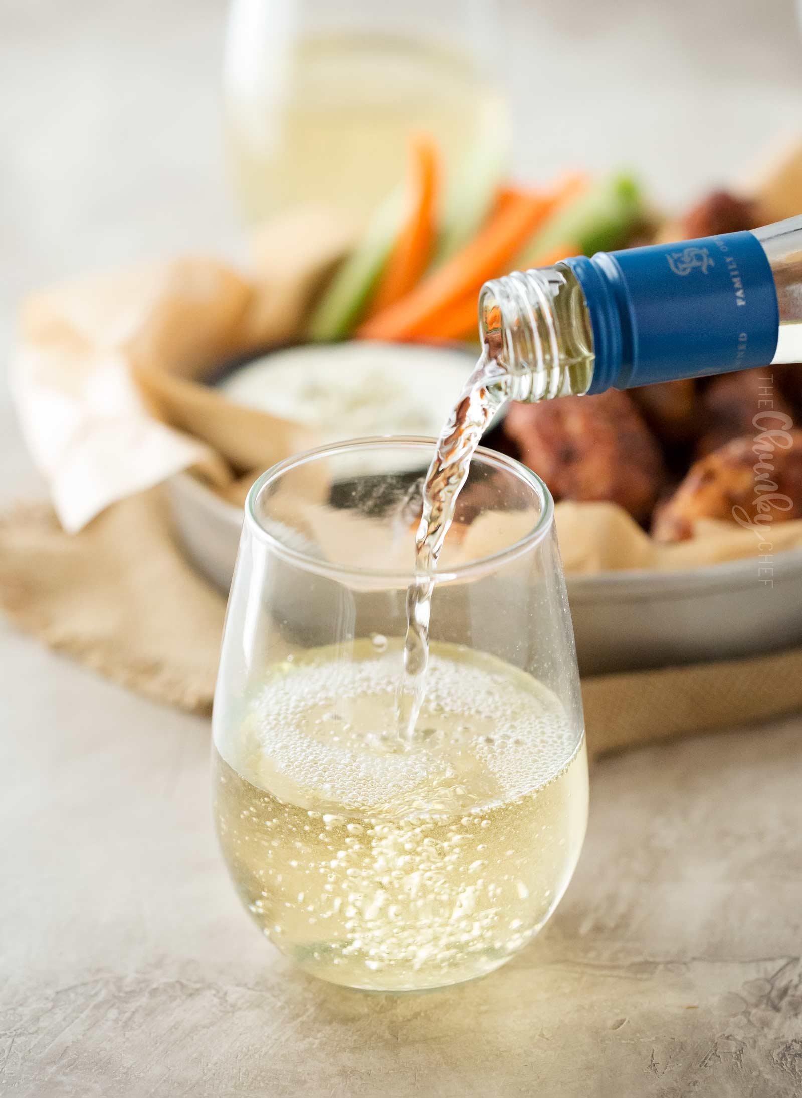 Ice cold glass of Riesling goes great with baked chicken wings!