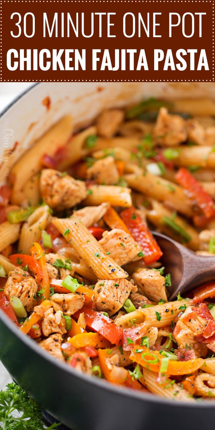 This One Pot Chicken Fajita Pasta is so creamy and flavorful, and is ready in less than 30 minutes!  Tender chicken, crisp veggies, and tender pasta smothered in a spicy, creamy sauce!  Click the photo for the full post!
