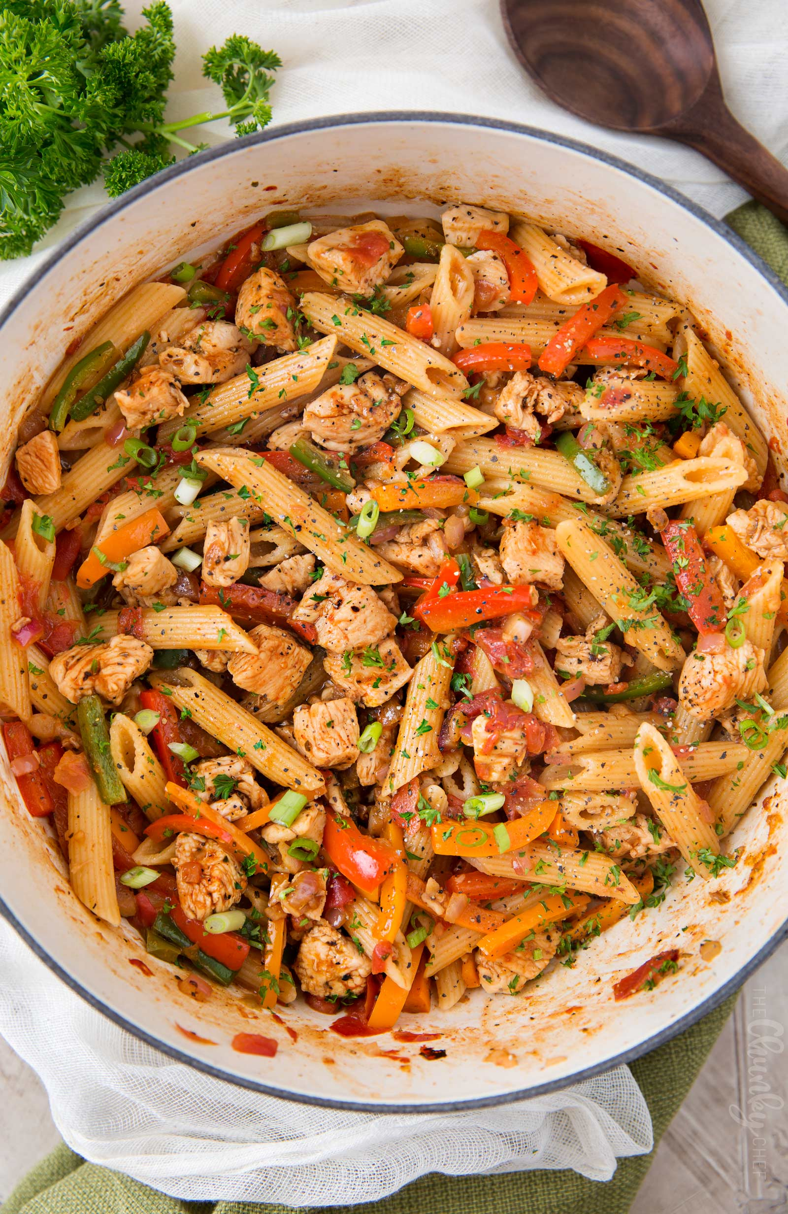 Chicken fajita pasta in cooking pot