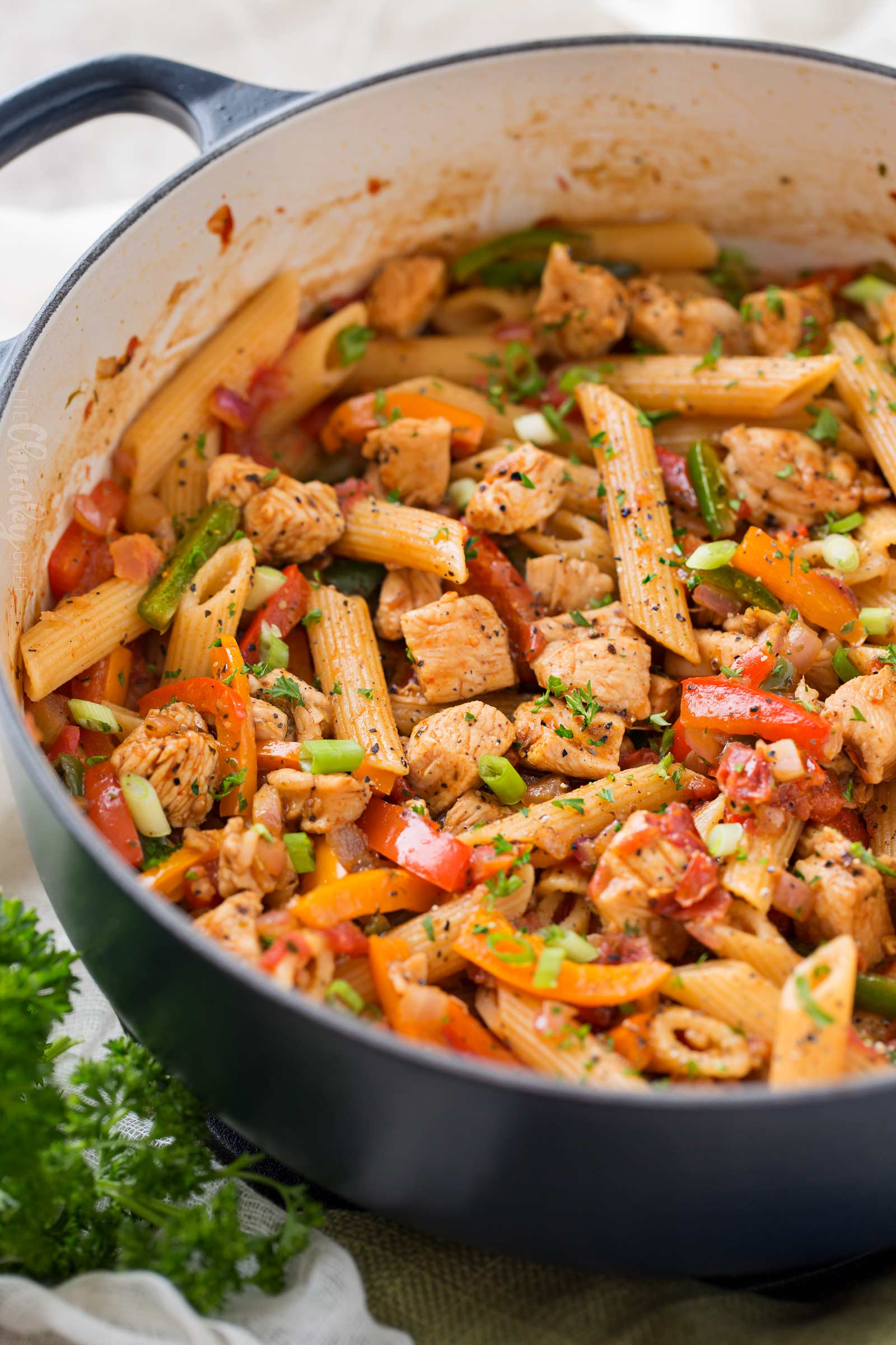 Pot of creamy chicken fajita pasta