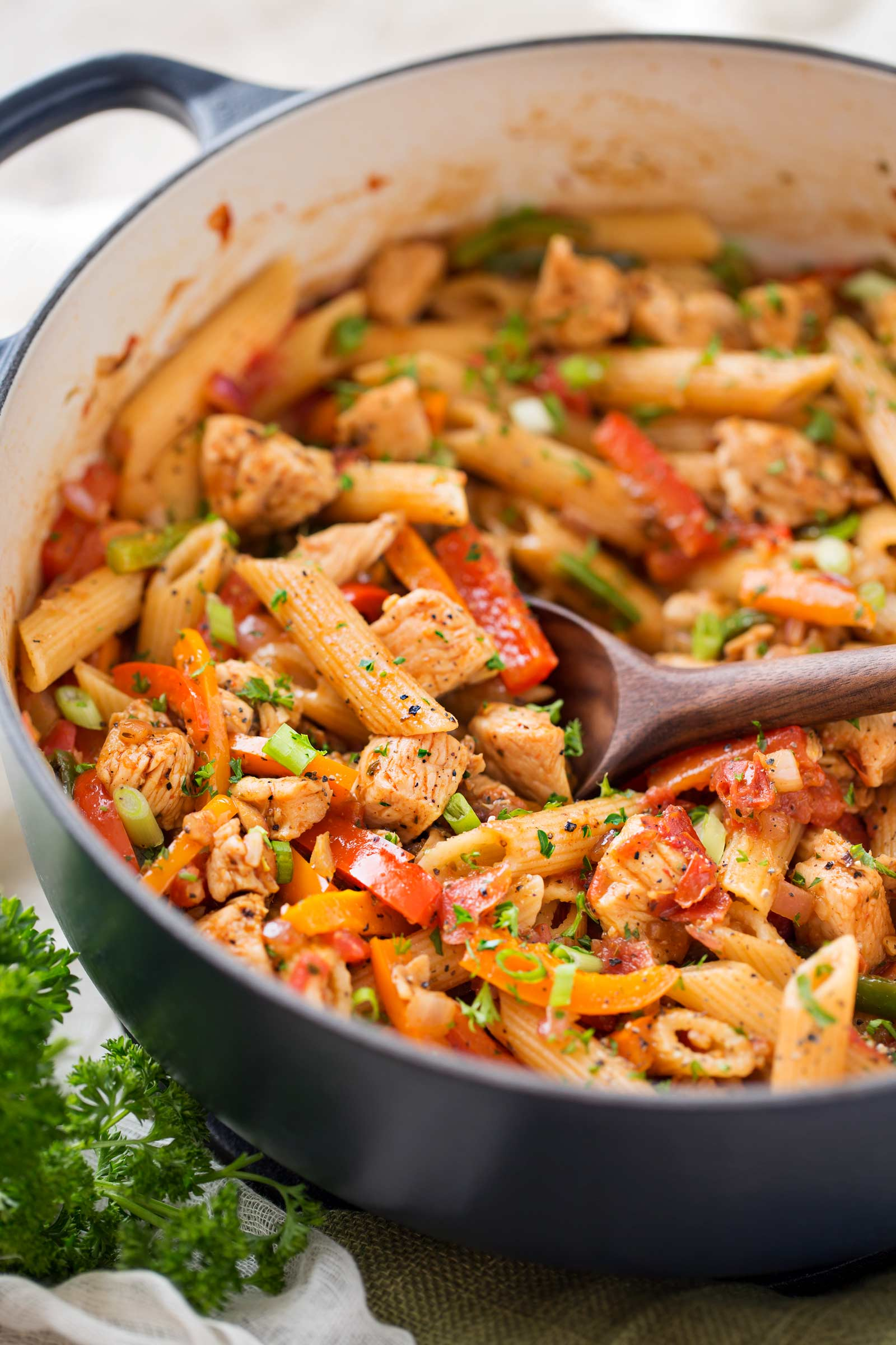 Scoop of chicken fajita pasta