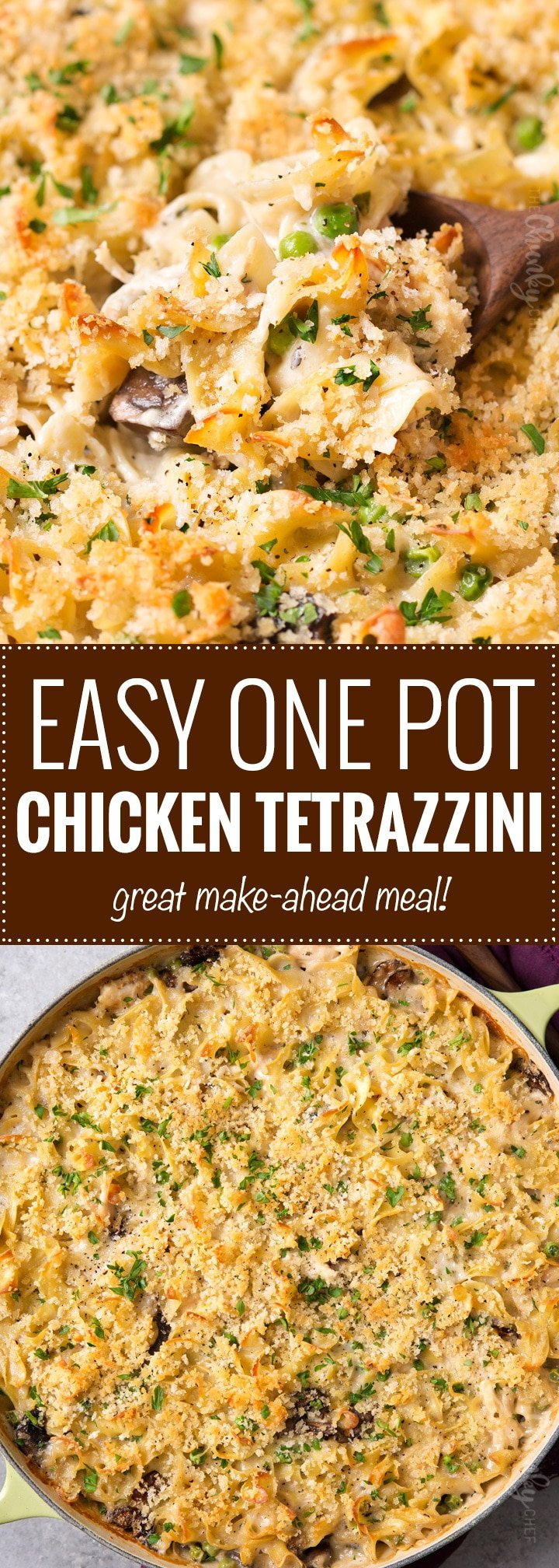 One Pot Chicken Tetrazzini | Perfect for an easy dinner, this chicken tetrazzini recipe is a comforting, incredibly creamy pasta bake with chicken, mushrooms!  This is one chicken casserole you'll be happy to eat, any time of year.  Great for make-ahead meals too! | The Chunky Chef | #chickentetrazzini #pastabake #casserole #chickenrecipes #italianrecipes