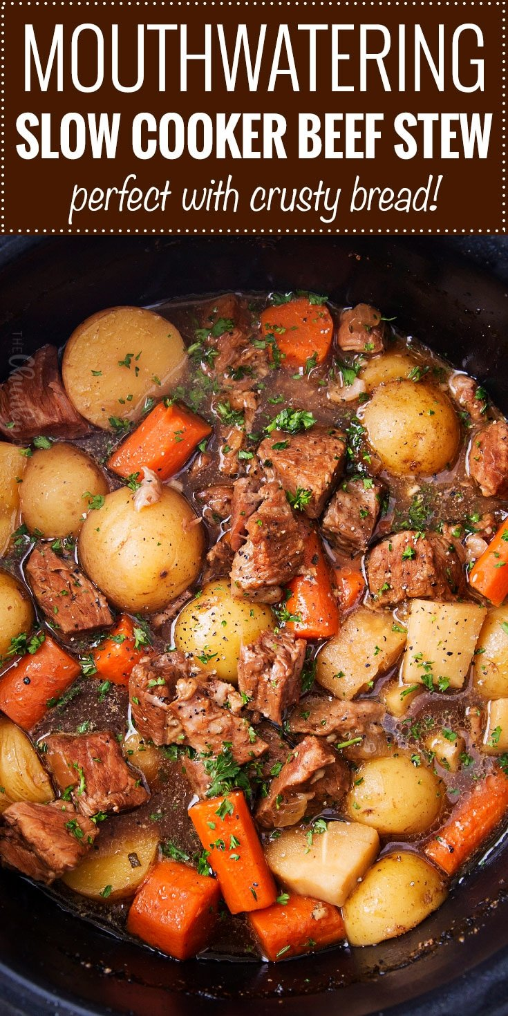 Beer and Horseradish Slow Cooker Beef Stew   This slow cooker beef stew simmers all day to create the most hearty, comforting and flavorful beef stew of all time! The flavors are enhanced by using beer and finishing the dish with a kick of horseradish.   The Chunky Chef   #beefstew #beefstewrecipe #slowcookerbeefstew #crockpot #slowcooker #comfortfoods