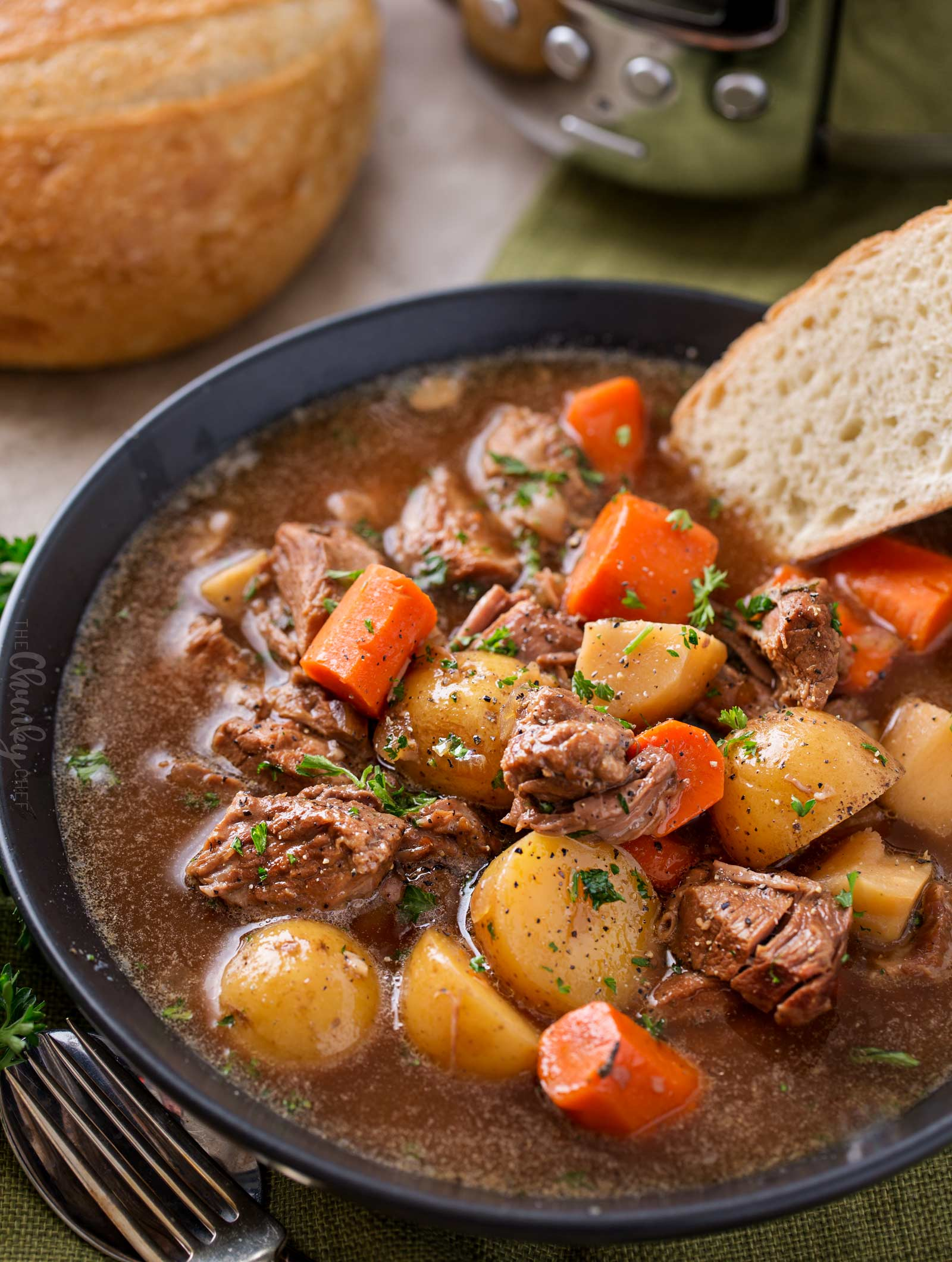 Slow cooker beef stew in bowl.