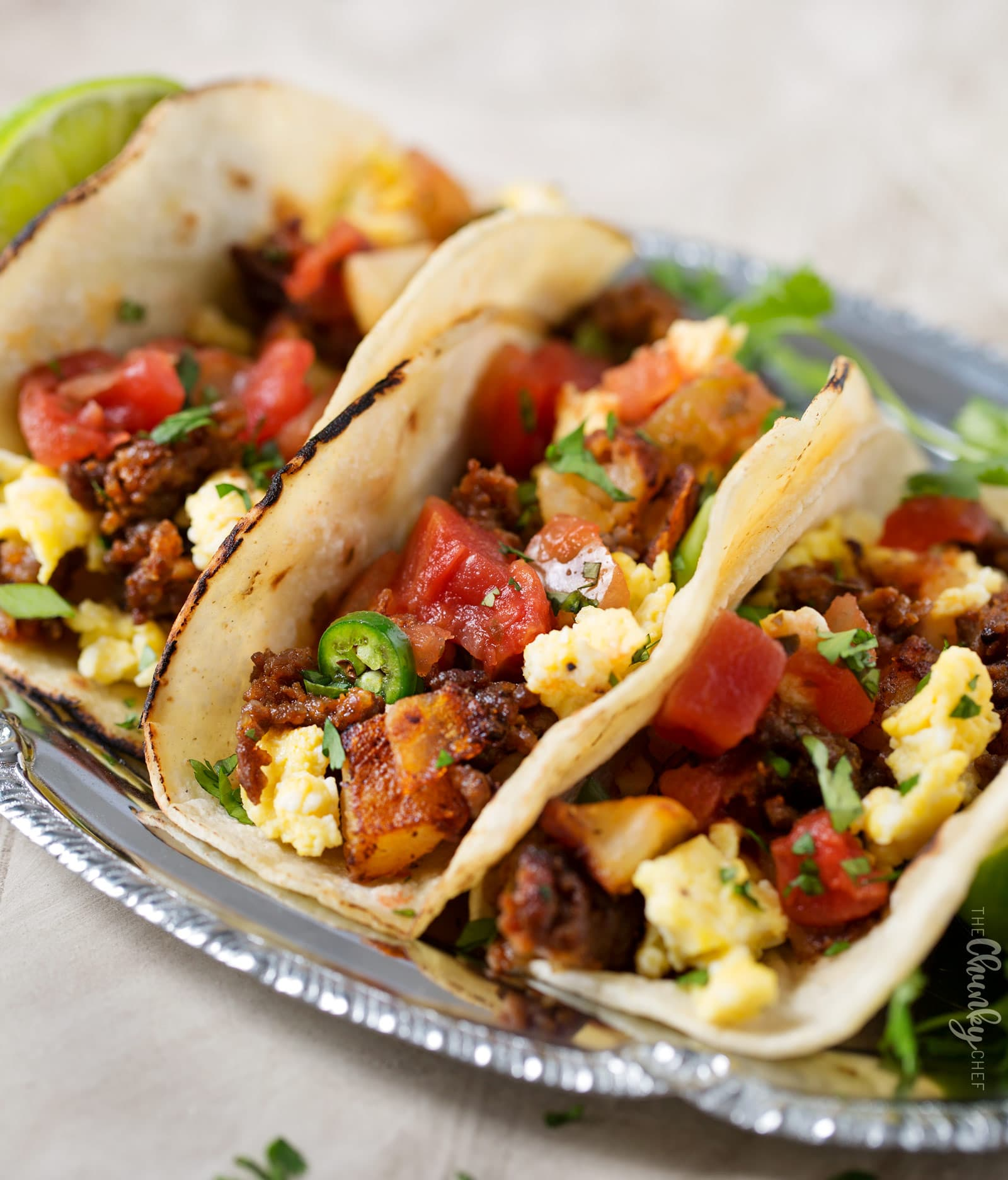 Plate of breakfast tacos