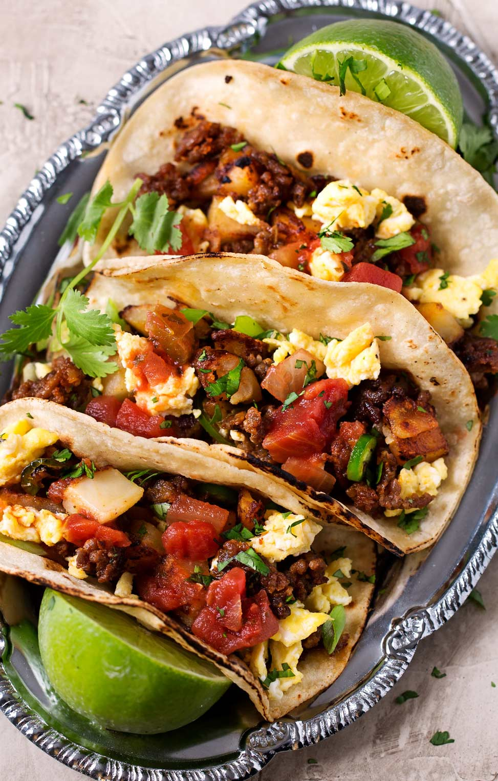 Breakfast tacos on plate