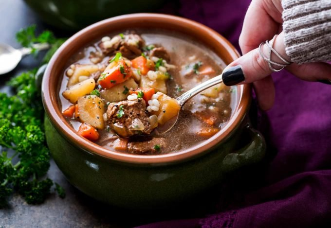 Spoonful of beef barley soup