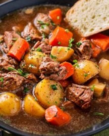 This crockpot beef stew simmers all day to create the most hearty, comforting and flavorful beef stew of all time! The flavors are enhanced by using beer and finishing the dish with a kick of horseradish #beefstew #beefstewrecipe #slowcookerbeefstew #crockpot #slowcooker #comfortfood#easyrecipe