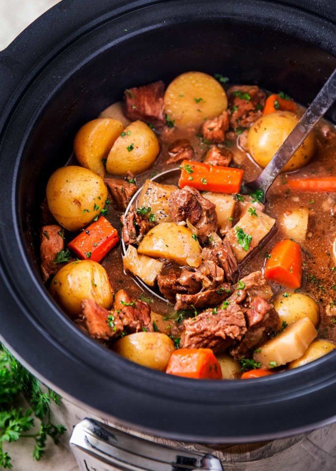Ladle of crockpot beef stew