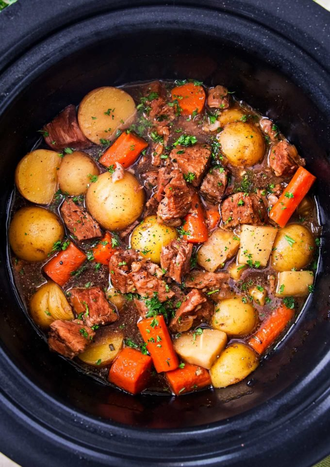 Crockpot Beef Stew with Horseradish in slow cooker