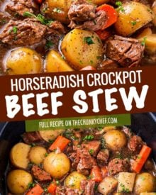 This crockpot beef stew simmers all day to create the most hearty, comforting and flavorful beef stew of all time!  The flavors are enhanced by using beer and finishing the dish with a kick of horseradish #beefstew #beefstewrecipe #slowcookerbeefstew #crockpot #slowcooker #comfortfood #easyrecipe