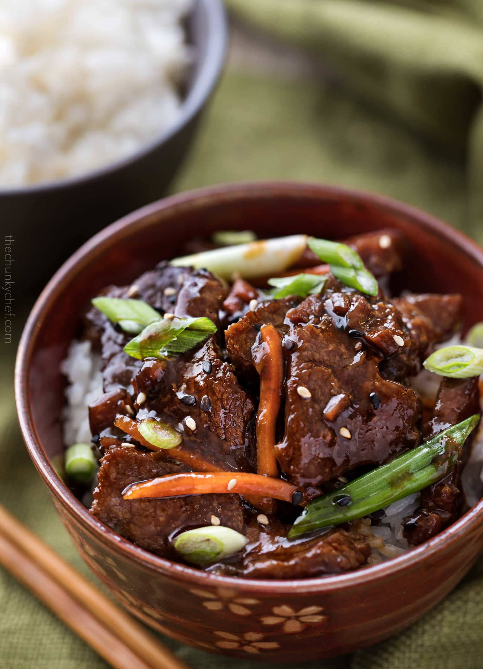 Bowl of slow cooker Mongolian beef