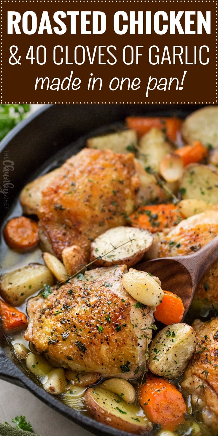 One Pan Roasted Chicken and 40 Cloves of Garlic - The ...