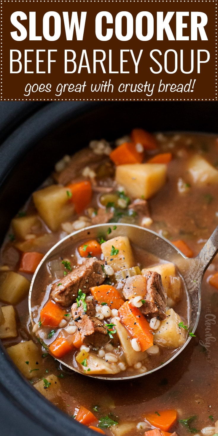 Slow Cooker Beef Barley Soup | Hearty and positively soul-warming, this beef barley soup simmers all day in the slow cooker, which makes for an incredibly rich soup recipe! | The Chunky Chef | #beefbarley #soup #slowcooker #crockpot #comfortfood #barley #beefsoup