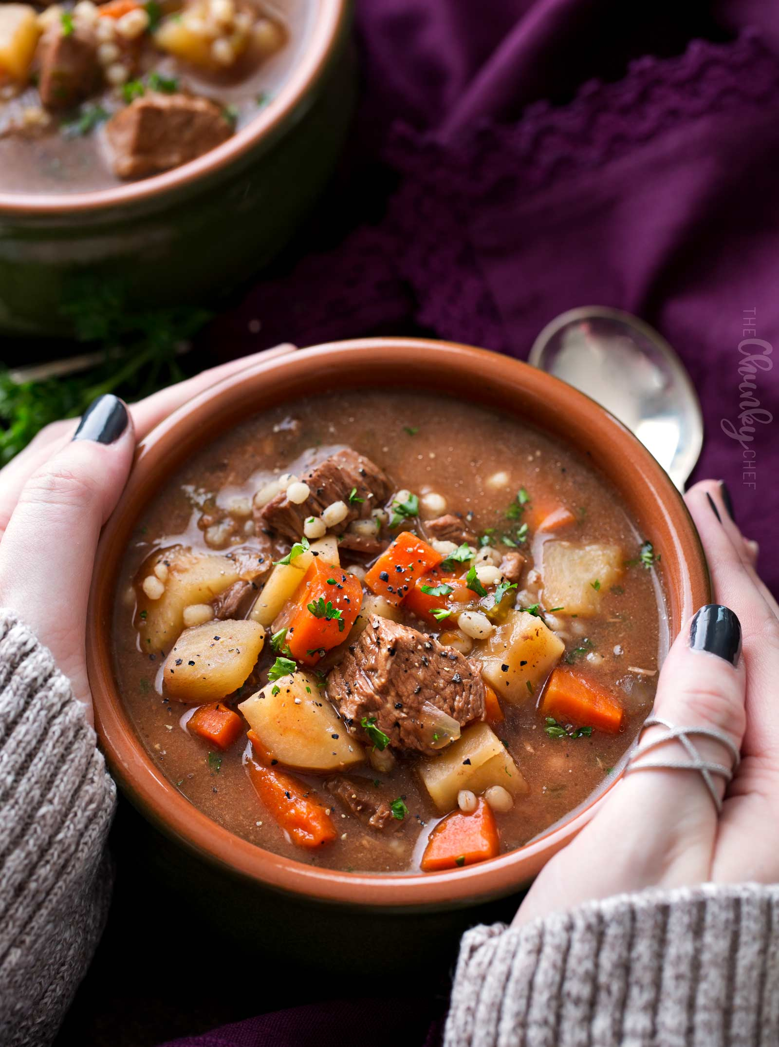 Bowl of slow cooker beef barley soup