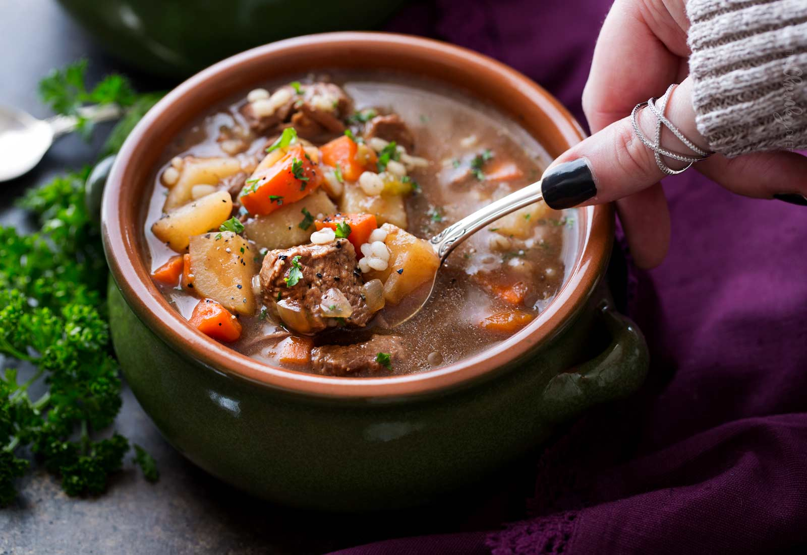 Spoonful of slow cooker beef barley soup