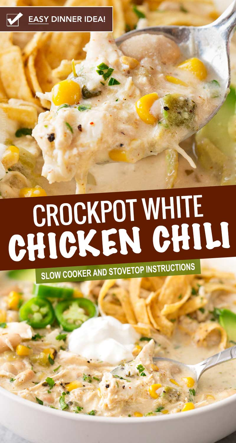 This contest-winning crockpot white chicken chili is made easy in the slow cooker, and has just the right amount of spice to warm up your night! #chickenchili #whitechickenchili #chili #chicken #easyrecipe #dinner #comfortfood #slowcooker #crockpot