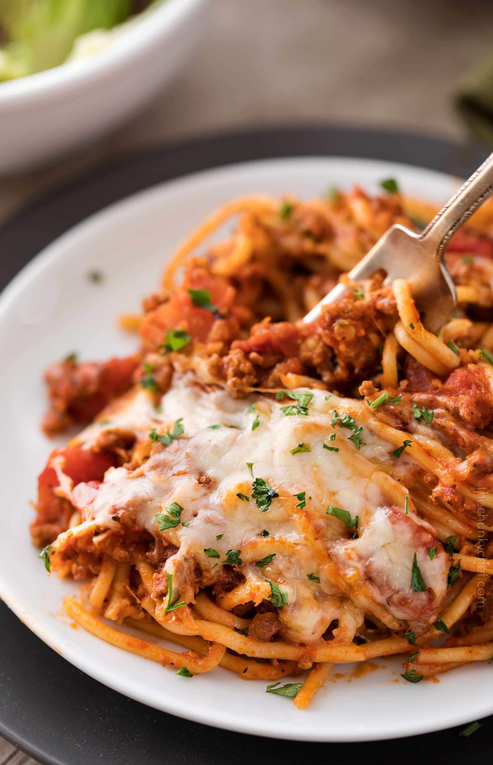 Plate of crockpot spaghetti