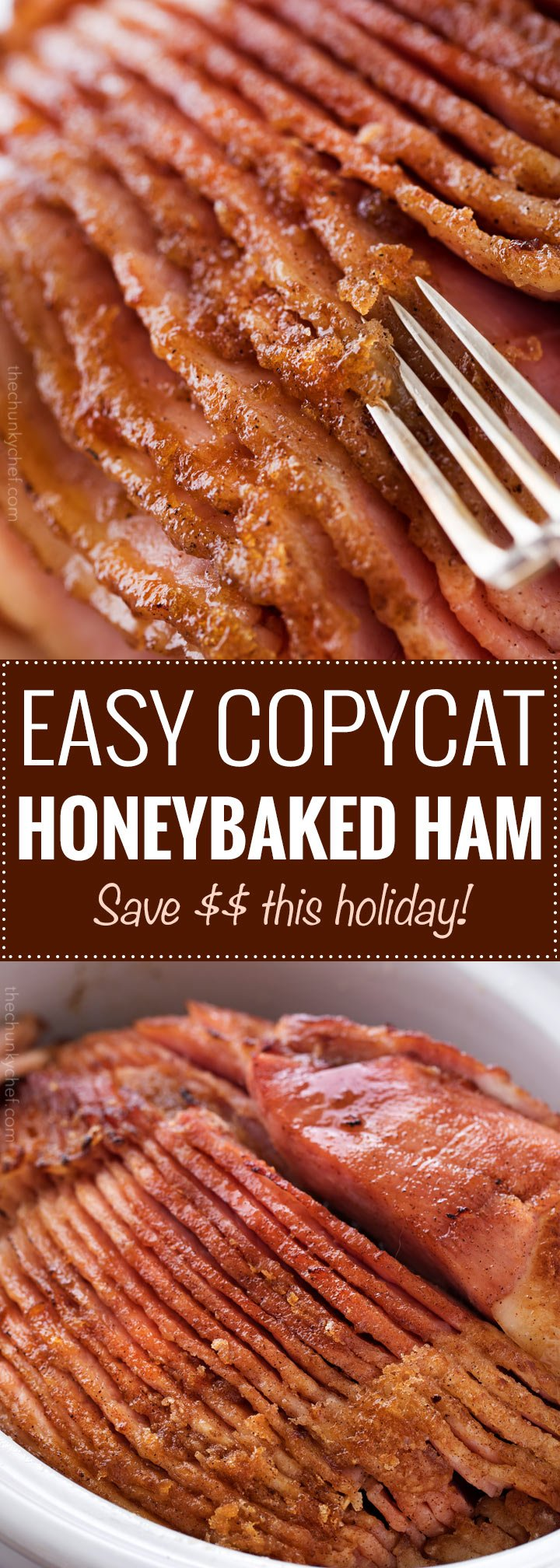 This copycat HoneyBaked ham is succulent and tender, with the most amazing crispy sweet glaze! Made with honey, sugar, and plenty of mouthwatering spices, you'll be amazed at how easy it is to make this ham at home and save a TON of money! | #copycatrecipe #ham #honeybakedham #holidaydinner #easter #thanksgiving