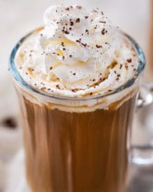 Irish Coffee is made with black coffee, Irish whiskey, Baileys, and brown sugar. Classic Irish coffee, with an Irish cream twist – perfect for St. Patrick's Day or an after dinner cocktail! #coffee, #Irish, #StPatricksDay #irishcoffee #baileys #whiskey #boozycoffee #cream #irishcream