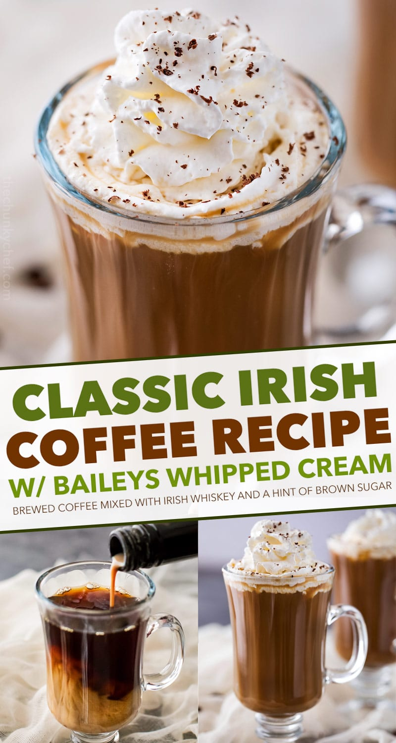 Irish Coffee is made with black coffee, Irish whiskey, Baileys, and brown sugar.  Classic Irish coffee, with an Irish cream twist – perfect for St. Patrick's Day or an after dinner cocktail! #coffee, #Irish, #StPatricksDay #irishcoffee #baileys #whiskey #boozycoffee #cream #irishcream
