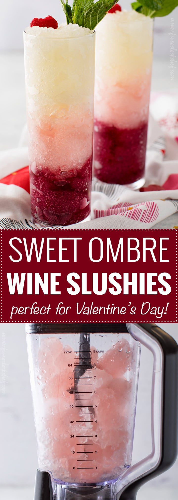 Sweet Ombre Wine Slushies | Three types of sweet wine are frozen into ice cubes, blended and layered to create a drink that's every bit as delicious as it is beautiful! | The 5 o'clock Chef | #slushie #slushy #slush #wine #ombre #valentinesday #frozendrink