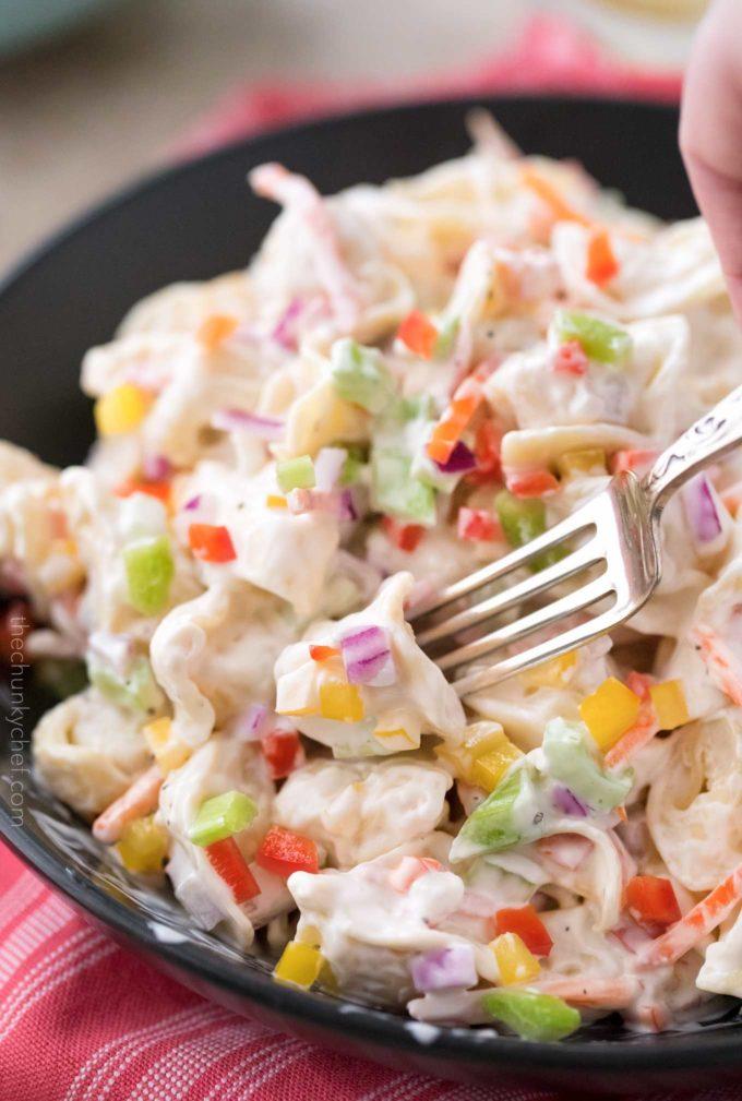 Forkful of creamy pasta salad