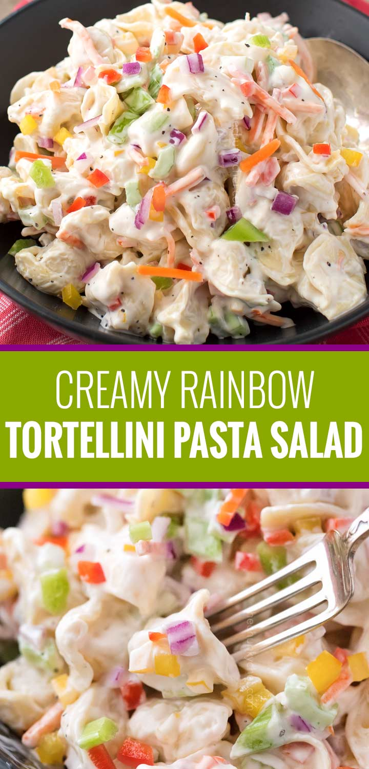 Creamy tortellini salad, loaded with colorful vegetables and tossed in a deliciously sweet and tangy dressing!   #pastasalad #macaronisalad #cookout #summer #rainbow