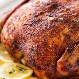 """Making this homemade """"rotisserie"""" chicken is as easy as 5 minutes of prep and a handful of spices. Then sit back and let your slow cooker do all the work! 