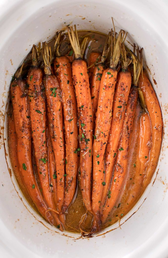 Roasted glazed carrots made in the slow cooker