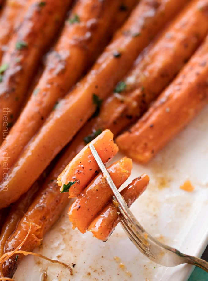 Forkful of roasted carrots recipe