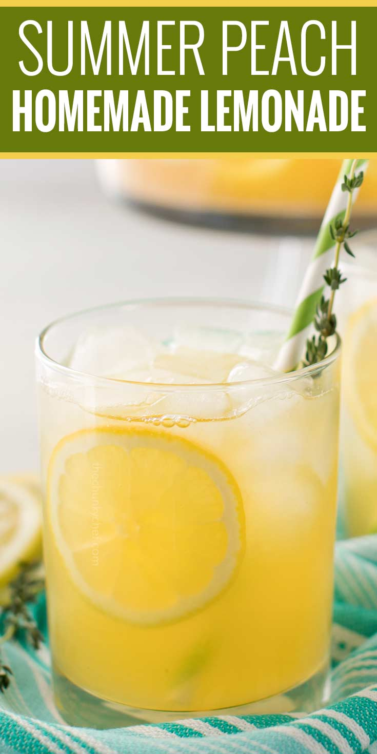 Sweet summer peach lemonade, made with just a few simple ingredients!  Perfect on a hot Spring or Summer day, it's the ultimate thirst-quencher! | #lemonade #lemonaderecipe #peach #summerdrink #homemadedrink
