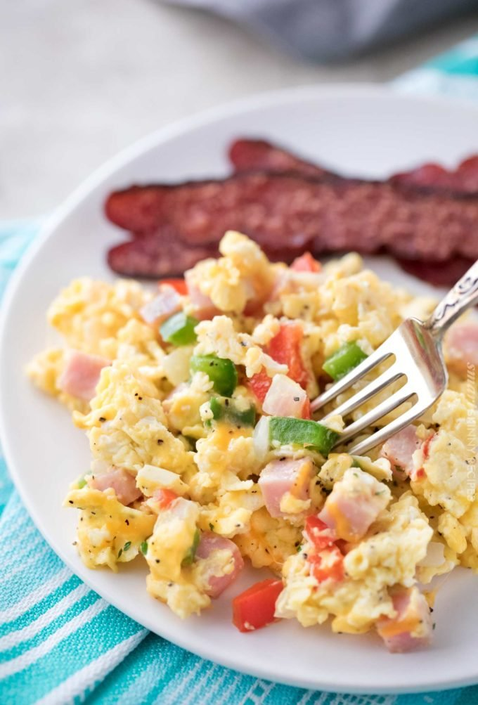 Plateful of scrambled eggs with bacon