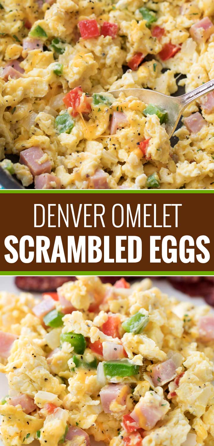 Perfectly fluffy scrambled eggs mixed with sautéed onion, peppers and diced ham, and topped with gooey cheddar cheese.  Perfect for breakfast, brunch or even brinner, and at only 3 weight watchers smart points, it's an amazingly healthy and nutritious recipe! | #weightwatchers #healthyrecipe #smartpoints #scrambledeggs #denveromelet